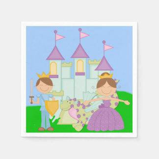 Brünetter Prinz und Prinzessin Papierservietten