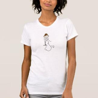 Brünettes Strichmännchen-Braut-Shirt