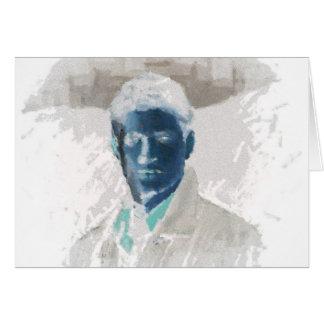 Brunnen gekleideter junger Mann Mitteilungskarte