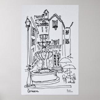 Brunnen-Piazza | Grasse, Frankreich Poster