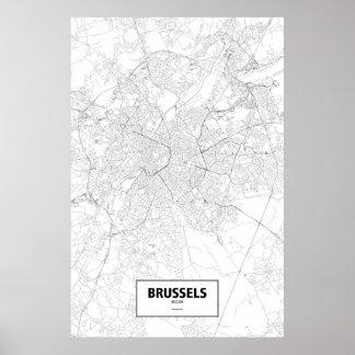 Brüssel, Belgien (Schwarzes auf Weiß) Poster