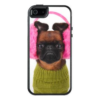 Brüssel Griffon mit rosa Ohrenschützern OtterBox iPhone 5/5s/SE Hülle