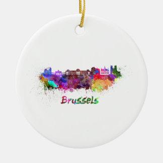 Brussels skyline im Watercolor Keramik Ornament