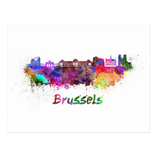 Brussels skyline im Watercolor Postkarte