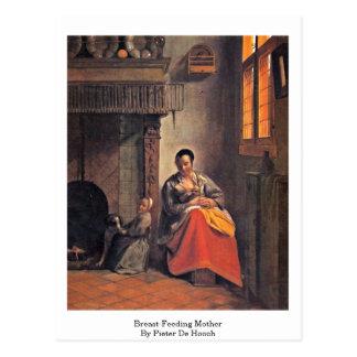 Brust-Füttern der Mutter durch Pieter de Hooch Postkarte