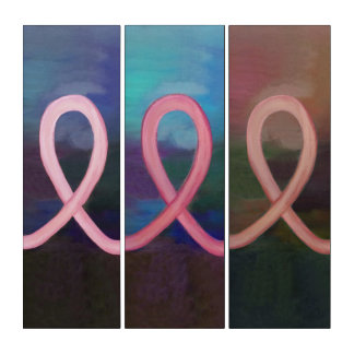 Brust-Krebs abstraktes multi | rosa Band modern Triptychon