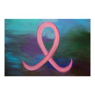 Brust-Krebs abstraktes mutiges | rosa Band modern Fotodruck