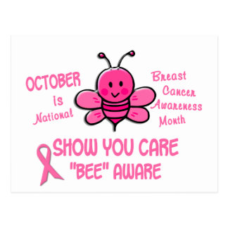 Brustkrebs-Bewusstseins-Monats-Biene 1,1 Postkarten