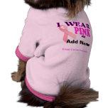 Brustkrebs-Bewusstseins-Schablonen-Haustier-T-Shir Hunde Shirts