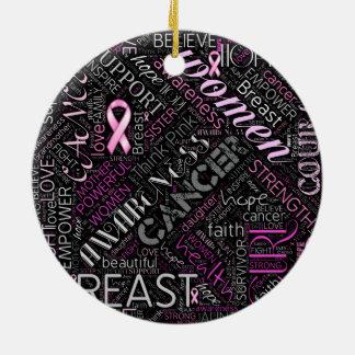 Brustkrebs-Bewusstseins-Wort-Wolke ID261 Keramik Ornament
