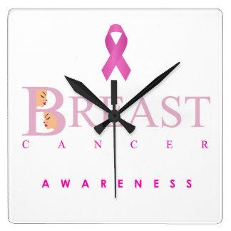 Brustkrebs-Bewusstseinsgraphik in den rosa Farben Quadratische Wanduhr