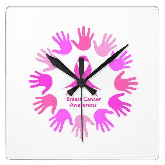 Brustkrebs-Bewusstseinsunterstützung Quadratische Wanduhr