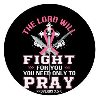 Brustkrebs-christlicher Lord Figh You Pray Große Wanduhr
