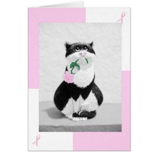 Brustkrebs-Karten-Katze u. rosa Rose; Rosa Bänder Karte