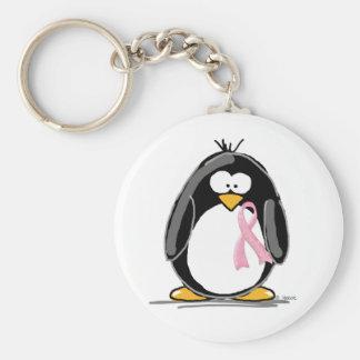 Brustkrebs-Pinguin Standard Runder Schlüsselanhänger