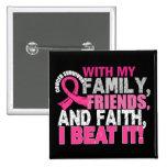 Brustkrebs-Überlebend-Familien-Freund-Glaube Quadratischer Button 5,1 Cm