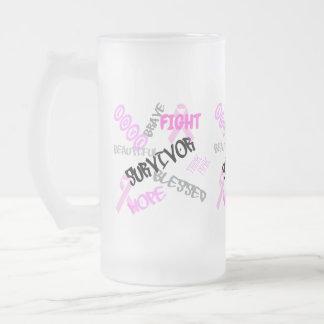 Brustkrebs-Überlebend-Tasse Mattglas Bierglas