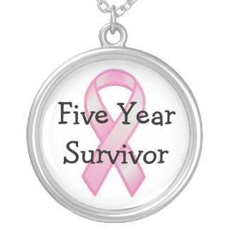 Brustkrebs-Überlebender fünf Jahre Versilberte Kette