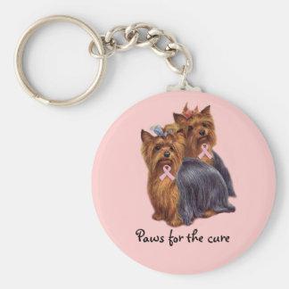 Brustkrebs Yorkshires Terrier Keychain Standard Runder Schlüsselanhänger