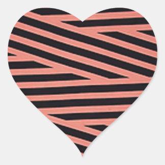 Bubblegum rosa und schwarze Hacky Streifen Herz-Aufkleber