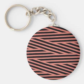 Bubblegum rosa und schwarze Hacky Streifen Schlüsselanhänger
