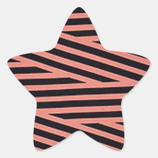 Bubblegum rosa und schwarze Hacky Streifen Stern-Aufkleber