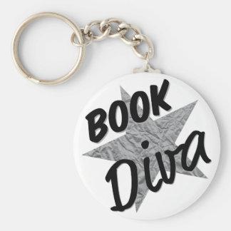 Buch-Diva-Knopf-Silber-Stern Keychain Schlüsselanhänger
