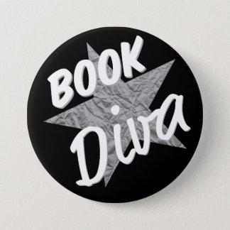 Buch-Diva-Knopf-Silber-Stern Runder Button 7,6 Cm