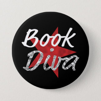 Buch-Diva wiith roter Stern-Knopf Runder Button 7,6 Cm
