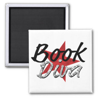 Buch-Diva wiith roter Stern-Magnet Quadratischer Magnet