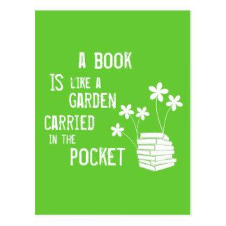 Buch ist wie ein Garten trug herein die Tasche Postkarte