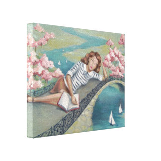 Buch-Liebhaber-Mädchen-Leinwand-Druck Leinwanddruck