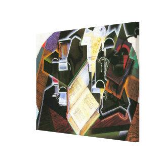 Buch, Rohr und Gläser, Juan Gris, Vintager Leinwanddruck