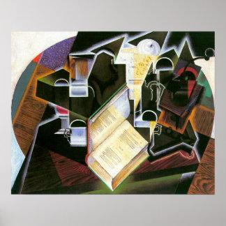 Buch, Rohr und Gläser, Juan Gris, Vintager Poster