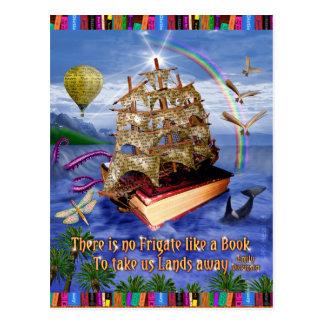 Buch-Schiffs-Ozean-Szene mit Emily Dickinson-Zitat Postkarte