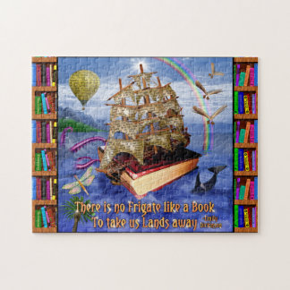 Buch-Schiffs-Ozean-Szene mit Emily Dickinson-Zitat Puzzle