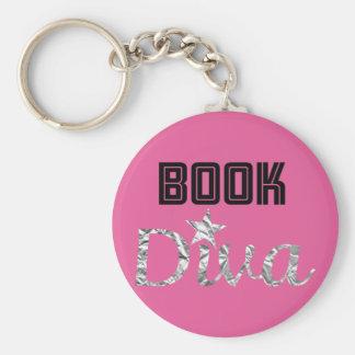 Buch-silberne Diva Keychain (Rosa) Schlüsselanhänger