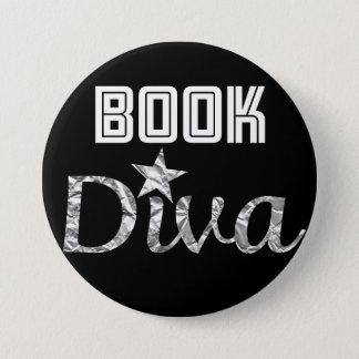 Buch-silberner Diva-Knopf Runder Button 7,6 Cm
