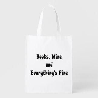 Buch-Wein alles ist fein wiederverwendbare Tasche Wiederverwendbare Einkaufstasche
