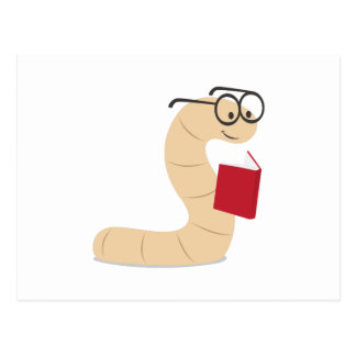 Buch-Wurm Postkarte