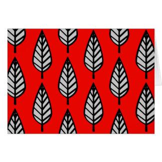 Buchenblatmuster - Rot, schwarz und Grau/Grau Karte