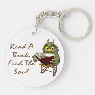 Bücher füttern dem Soul kluge Eule Schlüsselanhänger