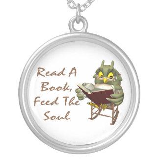 Bücher füttern dem Soul kluge Eule Versilberte Kette