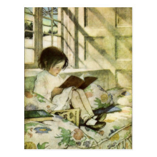 Bücher im Winter durch Jessie Willcox Smith Postkarte