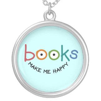 Bücher machen mich glücklich versilberte kette