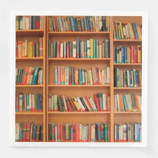 Bücherregal bucht Bibliotheks-Bücherwurm-Lesung Papierserviette