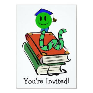 Bücherwurm-grüne smiley-Einladung für irgendeine 12,7 X 17,8 Cm Einladungskarte