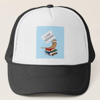 Bücherwurm mit Zeichen Truckerkappe