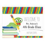 Bücherwurm-Willkommen zurück zu der Schule bunt Postkarten