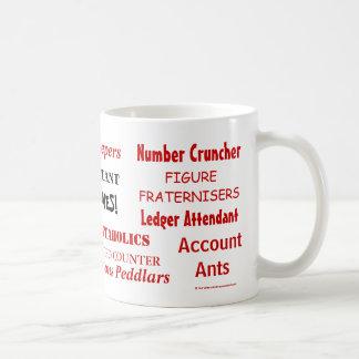 Buchhalter belegt Tasse mit einem Spitznamen